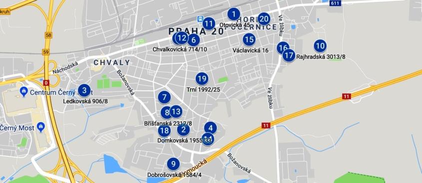 mapa garážový výprodej prodej mezi vraty horní počernice